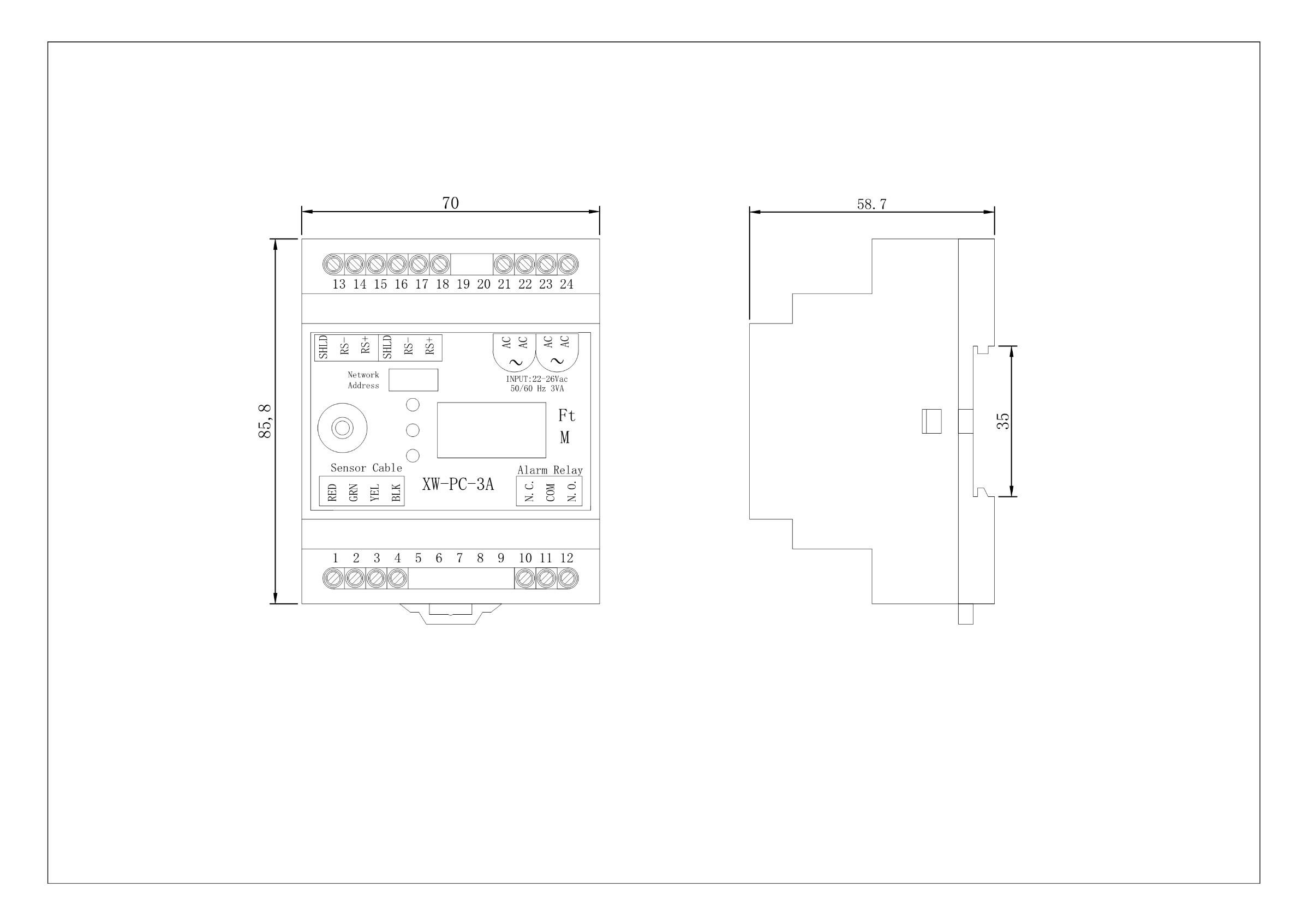 XW-PC-3A产品尺寸图
